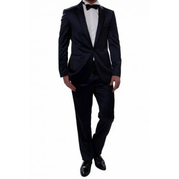 027 Slim Fit Navy Black Suit 15YTBLK027