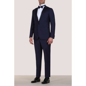 Slim Fit Pleated Double Breasted Lapel Tuxedo Suit - KP10081397