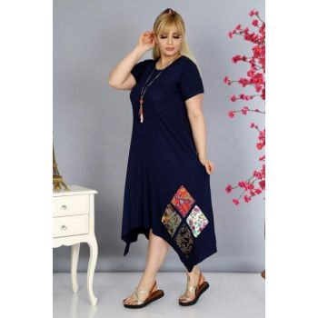 Women's Navy Blue Asymmetrical Cut Patch Detail Viscose Dress PV0037