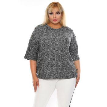 Women's Gray Buttoned Sweater Blouse RB0011
