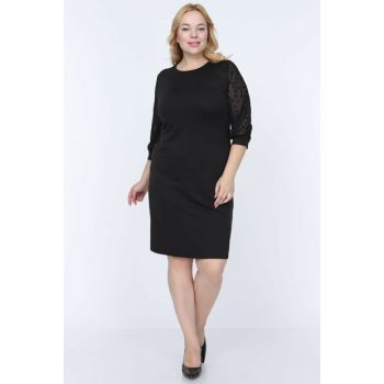 Women's Black Tulle Sleeve Star Dress 13E-0778