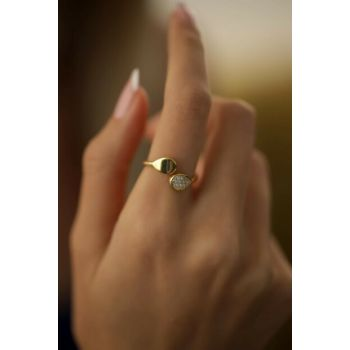 Women's Drop Pattern Gold Color Silver Italian Ring PKT-TLYSLVR0300