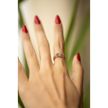 Women's Eye Model Aquamarine Zirkon Rose Plated Silver Ring PKT-İZLASLVR00261