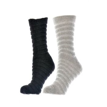 Women's Black Ecru 10 Pair Inverted Towel Socket Socks 4127