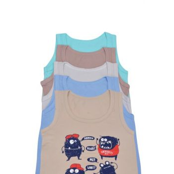 Boy Kid Colorful Strap Singlets 5'Li Package Printed 173061