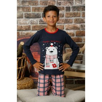 Boys' Navy Blue Printed Cotton Lycra Sleepwear Suit 2426
