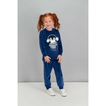 Penguin Navy Blue Girls Children Velvet Pajamas Set RP1578-C-V2