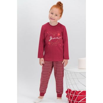 Shine Burgundy Girls' Pajamas Set AR-312-C-V1
