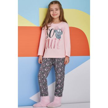 So Cute Young Girl Pajamas Set Salmon 10-16 Years 10459