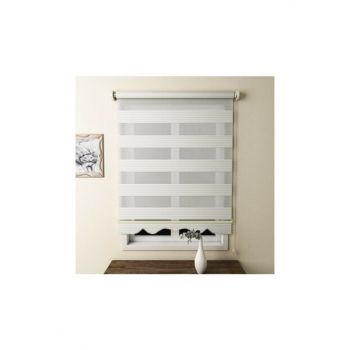 Ecru with Pleat 120x260 Zebra Curtain Zb483 EVRMTRND00009