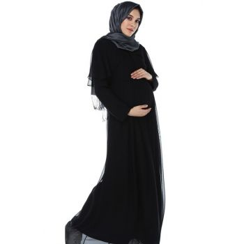 Angel Sleeve Hijab Maternity Dress Black ML010300X