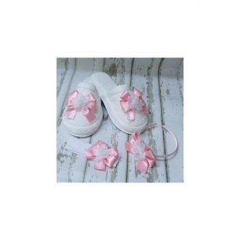 Lohusa Slipper And Crown Set With Bow Pink No: 39 Azb135