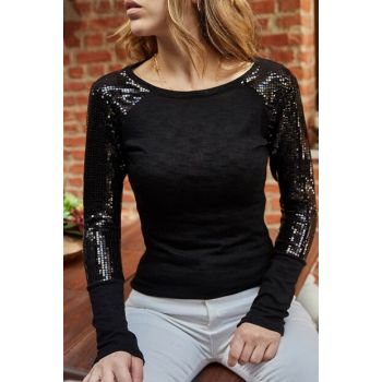 Women's Black Handle Sequined Sweater 9YXK2-41823-02