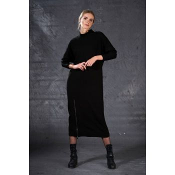 Women's Zipper Detailed Sweater Dress Black 4921
