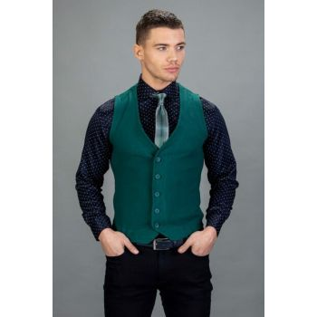 Men's Green Basic Vest - YL180004-884