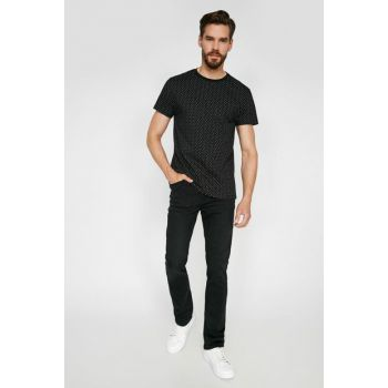 Men's Black Normal Waist Narrow Hem, Denimmel Trousers 0KAM43749LD