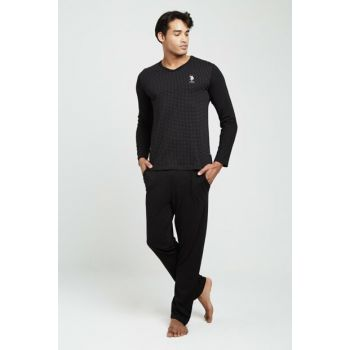 Men's Black Pajamas Suit 18321