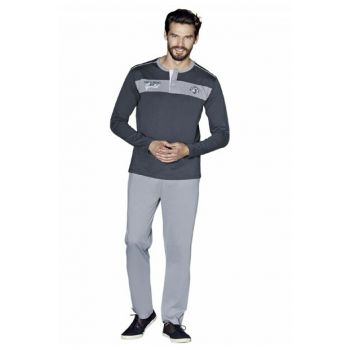 Men's Gray Long Sleeve Pajama Set 5370-