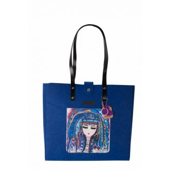 Blue Felt Bag with Water Strap BGD100010204