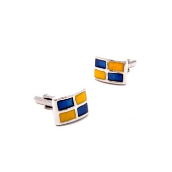 Yellow Navy Blue Cufflink BLKD19633