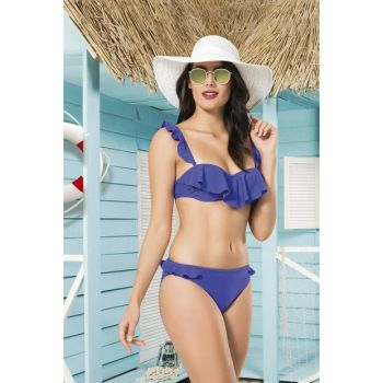 Women's Saks Blue Front Frilly Coated Bikini Set NB19YBK00033
