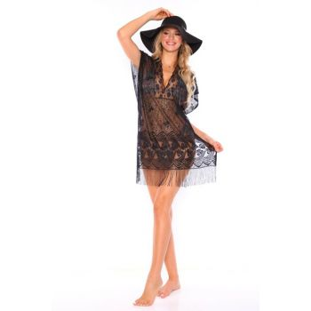Women's Black Over Patterned Pareo PTSK-7018