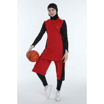 Women's Red Hijab Basketball Jersey Team B-104K