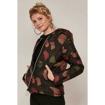 Women's Coffee Printed Inflatable Coat 10405 Y19W126-10405