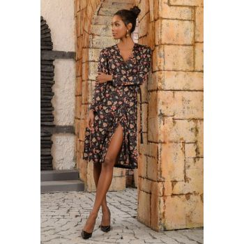 Women Black V Neck Floral Pattern Double Breasted Dress ALC-019-045-NE