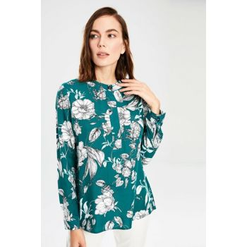 Women's Green Printed Blouse 9WU677Z8