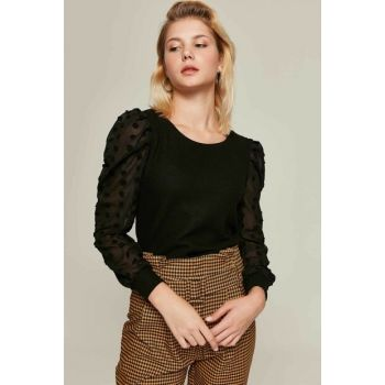 Women's Black Handles Tulle Thessaloniki Fabric Blouse Y19W104-F270