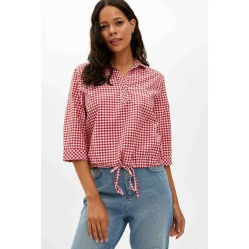 Women's Red Relax Fit Lacing Detailed Long Sleeve Blouse M2296AZ.19WN.RD247
