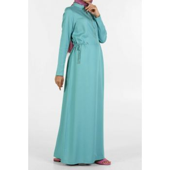 Women Turquoise Front Zippered Eyelet Natural Fabric Dress 2170