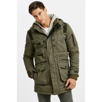 Men's Khaki Hooded Thick Parka 8W4941Z8