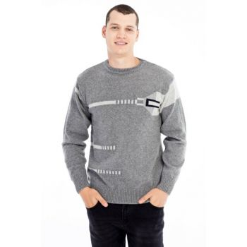 Crew Neck Pattern Sweater 79559