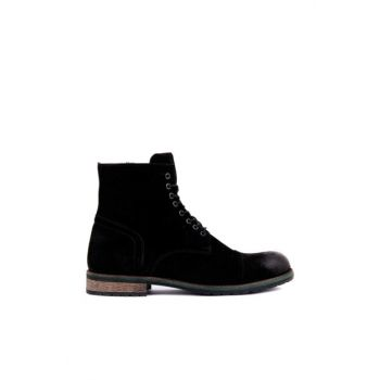 Men's Black Suede Boots 102-3507-B-121