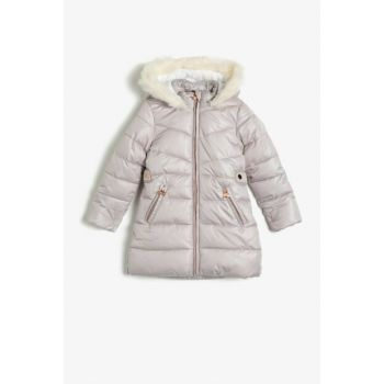 Ecru Girl's Hooded Inflatable Coat 0KKG07408OW