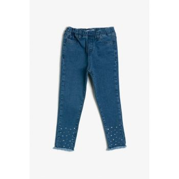 Blue Girl's Stone Detail Jaan Pants 0KKG47821OD