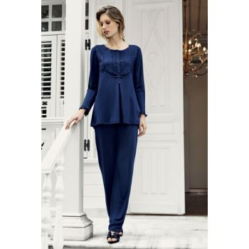 Women's Navy Blue Pajamas Set-7201-4 T1387