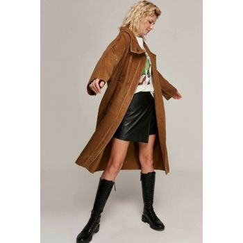 Women's Coffee Flat Stamp Bat Coat 5020 Y19W102-5020