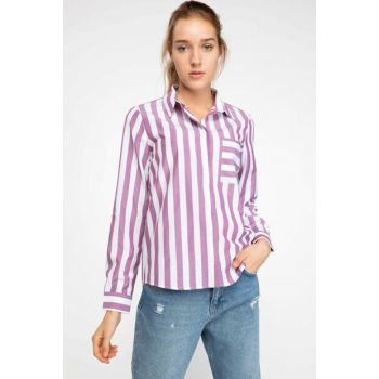 Women's Pocket Detailed Striped Shirt J5896AZ.18AU.WT48