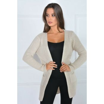 BEIGE THERMAL CROSS CARDIGAN 9K57007HT075601