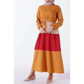 Women Mustard Color Combined Dress HZ2350