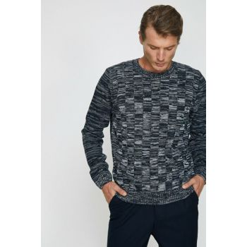 Men's Navy Blue Patterned Sweater 0KAM91262GT