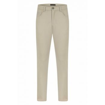 Men's Light Beige Slim Straight Jean Trousers 329724