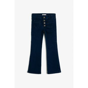 Blue Button Detailed Jean Trousers 0KKG47051AD