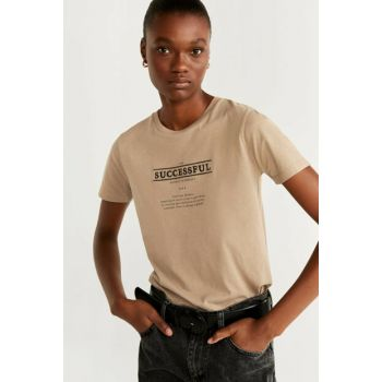 Women's Beige Letter Embroidered T-Shirt 57015952