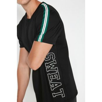 Men's Black Printed T-Shirt 0KAM12374NK