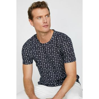 Men's Navy Blue Printed T-Shirt 0KAM14745OK