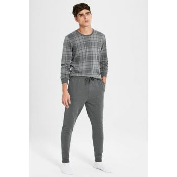 Men's Gray Plaid Pajamas Set 9WL593Z8